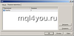 Входные параметры скрипта Metatrader 4